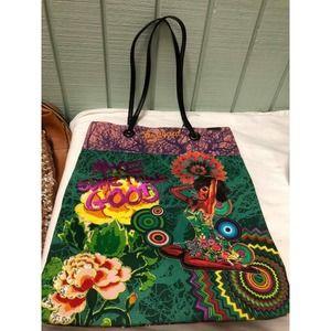 "DESIGUAL Tote Bag 16"" x 12.5"" Pin Up Girl"